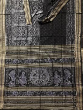 Temple theme chakra and lion motifs cotton Ikat Saree with blouse piece