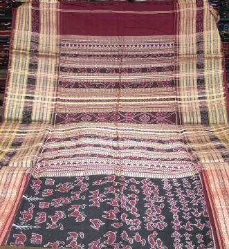 Master weaver s creation Intricately woven Cotton Ikat Saree without blouse piece