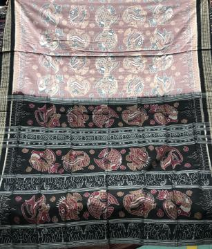Exclusively woven fish motifs Cotton Ikat saree with blouse piece