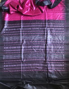 Magenta and black combination Gopalpur Tasar Ikat Saree with Blouse Piece